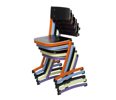 The 3.4.5. school chair, the first school chair with a triple function: multi-position, stackable and table rest system.