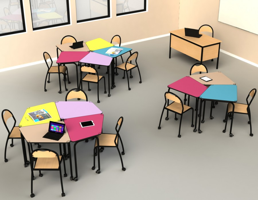 designer classroom environment for a modular layout